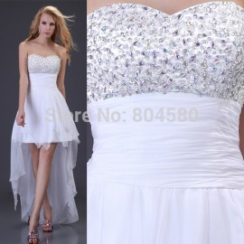 Grace Karin Sexy Strapless Beading High-Low  Model Party Prom Gown Sexy White Chiffon Evening Dress  CL3827