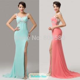 Grace Karin Sexy Women Sleeveless Bodycon Bandage dress Celebrity Long Elegant Prom Gown Open Side Split Evening dresses CL6113
