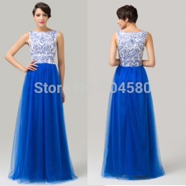 Grace Karin Sleeveless Tulle Floor Length Blue Prom Gown Long Evening dresses Women party dress Formal gowns CL6106