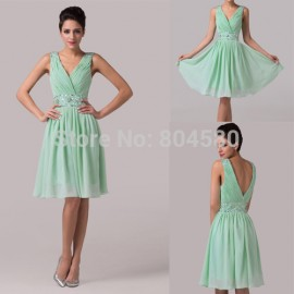 Grace Karin Sleeveless V-Neck Chiffon Short Design Special Occasion Dresses Sexy Evening party gown Women ball Prom dress CL6104
