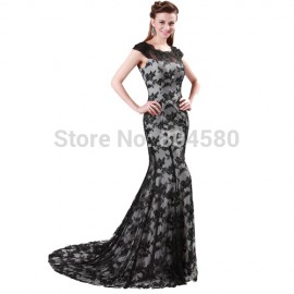 Grace Karin Stock Floor Length Cap Sleeve Black Lace Gown Formal Evening Prom Dress party Elegant Mermaid dresses CL4422