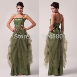 Grace Karin Stock Spaghetti Straps Satin + Voile Women Prom Gown Formal Party Dresses Long Evening Dress  CL6083