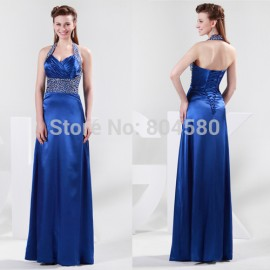 Grace Karin Stock Strapless Halter Silk-Like Floor Length Maxi Evening Dress Long Prom Party Dresses Formal Gowns Blue CL4406