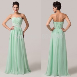 Grace Karin Strapless Chiffon Fashion Women banquet party dresses Floor-length Long maxi dress Formal Evening Prom gowns CL6107