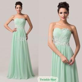 Grace Karin Strapless Floor-length Fashion Women Green Long evening party dresses Formal maxi prom Gown frozen dress CL6107