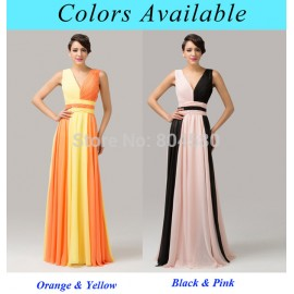 Grace Karin Two Colors Deep V Neck Printed Ombre Celebrity dresses Colorful Long Evening Gown Formal Prom Banquet dress CL6172