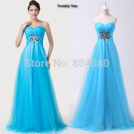 Grace Karin Women Summer  Fashion Floor length Tulle Long Corset Special Evening Dress Blue Formal Prom Ball Gown CL6243