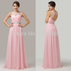 Grace karin Backless Floor Length Chiffon Beaded Bandage dresses Long Evening Gowns Casual Party Dress CL6112