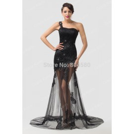 Grace karin One Shoulder Gown Floor Length Lace Black Evening dress Mermaid Prom dresses Long Party Gowns  CL6100