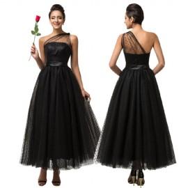 Grace Karin 2015 Summer Women Linen Long Dress vestido de festa Black Lace Evening dresses One Shoulder Mother Prom Gown C7561