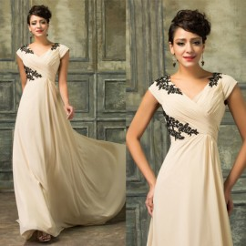 Grace Karin 2015 Women Apricot Chiffon Short Sleeve Evening dresses Embroidery Long Prom dress Formal Occasion Gowns  D7576
