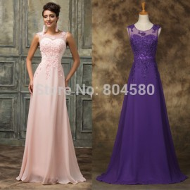 Grace Karin Backless Chiffon A Line Prom Dress Embroidery Cap Sleeve Long Evening Gown Floor length Formal Party Dresses CL7555