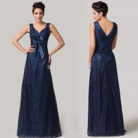 Grace Karin Deep V Neck Two Shoulder Blue Lace Embroidery Celebrity dress Floor Length Evening dresses Long Prom Party Gown 6117