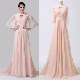 Grace Karin Floor Length Mother of the Bride dresses Half Sleeve Pink Long Evening Dress Formal Dinner Party Prom Gowns 6271