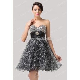 GraceKarin Knee length Strapless Tulle Party Gown Women Short prom dresses Formal gowns Black Homecoming Graduation dress CL6139