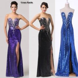 Grace Karin Open Side Blue Black Purple Sequins Long Bandage Prom dress Women Sweetheart Wedding Party Dresses 6291