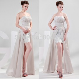 Grace Karin Sexy Strapless White Bandage dress High Low Prom dresses 2015 Women Formal Evening Gown Cheap Custom Made CL4336