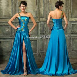 Grace Karin Silk-like Elegant Party Prom Gown High-Low Summer Evening dresses One Shoulder Short Dress with Long Train 4407