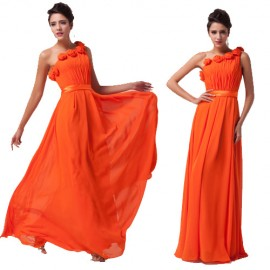 Grace Karin Stock One Shoulder Chiffon Prom Dress 2015 Orange Elegant Graduation dresses Flower Evening Gown Plus Size 6020