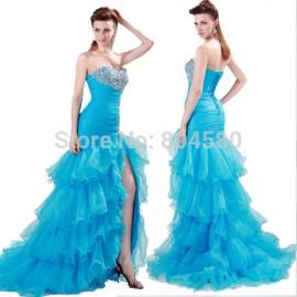 Grace Karin Strapless Layer design Formal Party dress 2015 Cheap Women Split Evening Prom dresses Long Dance Dinner Gown 4654
