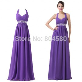 Halter Neck Built-In Bra Padded Long Evening Party Gown Floor Length Chiffon Prom Dress Design Special Occasion Dresses 6208