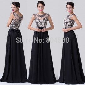 High Neck Cap Sleeve Winter Black Color Runway Embroidery Prom dress Formal Party Gown Special Evening dresses  CL6267