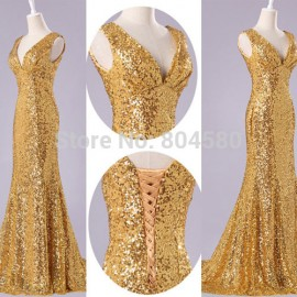 High Quality Charming Grace Karin Stock Sequins Deep V Formal Prom Bandage Party Gown Sheath Long Evening Dress  CL6052