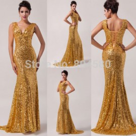 High Quality Charming Grace Karin Stock Sequins Deep V Long Prom Gown Formal Evening Dress Party  CL6052