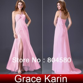 High Quality Grack Karin Pink dress One shoulder Formal Prom Wedding Bridesmaids Party dress size 8 Size  CL3873