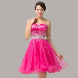 High Quality Grace Karin Knee Length Sequined Prom Dress Pink Cheap Short Ball Gown Evening party dresses Graduation  CL6145