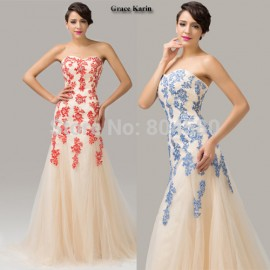 High QualityGrace Karin Strapless Applique Mermaid Evening dress Formal prom Gown Long Party Dress Red Blue Full Length CL6171