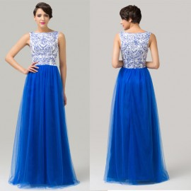 High Neck Royal Blue Tulle Ball Gown Evening Dress Appliques Plus Size Formal Prom Dresses 2015 Long Party Gown in Floor 6106