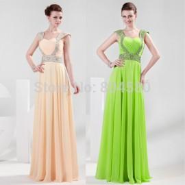 Hot Bead Strapless Floor Length Lady Dress Chiffon Prom dresses Formal dress Party Evening Elegant CL4446