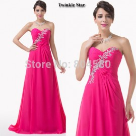 Hot Sale Grace Karin Cheap Stock Strapless Red Long Evening dresses Chiffon Floor Length sequined prom dress Formal Gowns CL6228