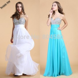 Hot Sale Grace Karin Stock Blue White Long Chiffon Crystal Beads Evening Dress A Line Prom Party Dresses Women Gowns  CL7506