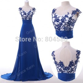 Hot Sale Grace Karin Women Backless Sexy Winter dress Fashion Blue Sleeveless Print Evening Party Gown Long Prom dresses CL6147