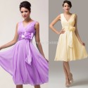 Hot Sale  Stock Deep V-Neck Knee Length Cheap Party Gown Chiffon short Prom Dresses Fashion Evening dress  CL6015