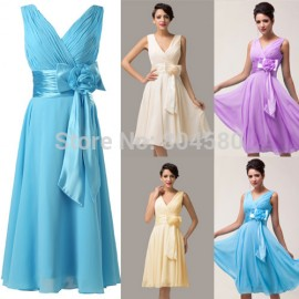 Hot Sale Stock Deep V-Neck Knee Length Cheap Party Gown Chiffon short Prom  Dresses 74389f320b52