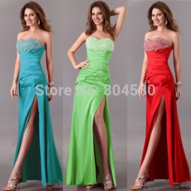 Hot Sale Sexy Sweetheart Beaded Fashion Women Bandage dress split Long evening dress Casual Party Gown CL2588