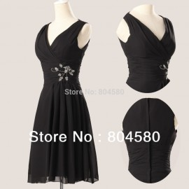 Hot Selling  A-line V-neck Knee-length Chiffon Ball Prom Gown Short Evening Dress  CL3440