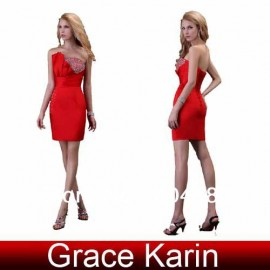 Hot Selling  Grace Karin Sexy Strapless Satin column Prom Red Evening dresses,Cocktail Dress 8 Size via  CL3823