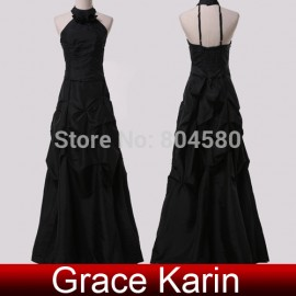 Hot Selling Fashion Floor-Length Halter Backless Evening Dress Black Formal Prom Party Gown  CL6074