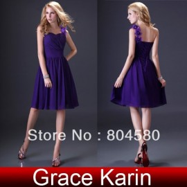 Hot Selling GK Stock One shoulder Knee-Length Party Evening Gown Prom Ball Evening Dresses 8 Size CL3431