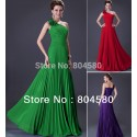 Hot Selling Stock One Shoulder Chiffon Dinner Party dress Floor Length Prom Gown Long Celebrity Evening Dresses CL3467