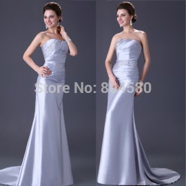 Hot Selling Strapless Beaded Silver Mermaid prom dress Floor Length Evening party Gown Women autumn dresses CL2427