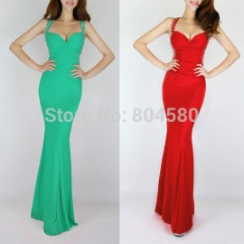 Hot SellingFashion Sexy Elastic Knitted Sleeveless Sweetheart Bandage Dress Women Party Formal Evening Gown Dress CL6080