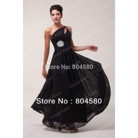 Hot Selling Grace Karin Stock One shoulder Chiffon Black Formal Evening Dress Long Celebrity Dresses  CL6058