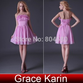 Hot Selling Grace Karin Strapless Flower Homecoming Party dresses Mini Prom gown Formal Evening dress CL3469 (AL12)
