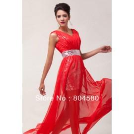Hot Stock Deep V Neck Chiffon+Sequins Women Short / Long Skirt sexy party dress Evening Gowns  Formal prom Dresses CL6004