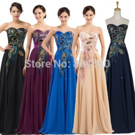 Hot 2015 Peacock Pattern Evening Party Gown Dress Plus Size Floor Length Vintage Prom dresses Long Celebrity Dinner Gowns CL6168